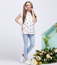 Retail Sale 100% Polyester Maternity T-Shirts Pregnant Women's Tees European Plus Size Funny Horse Print Top Mother Clothes