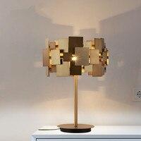 Дизайнер золото настольная лампа современные золото Нержавеющаясталь настольная лампа Гостиная Спальня свет моды тумбочка лампа