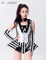 MOONIGHT Modern Dance Costume Clothes Stripe Fashion Jazz dance Jumpsuit DJ Performance Wear Singer Performance Costume