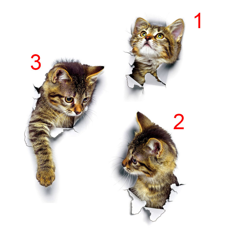 Cute 3D Cat Wall Sticker Bathroom Toilet Living Room Home Decor Decal Background PVC Wall Stickers @LS