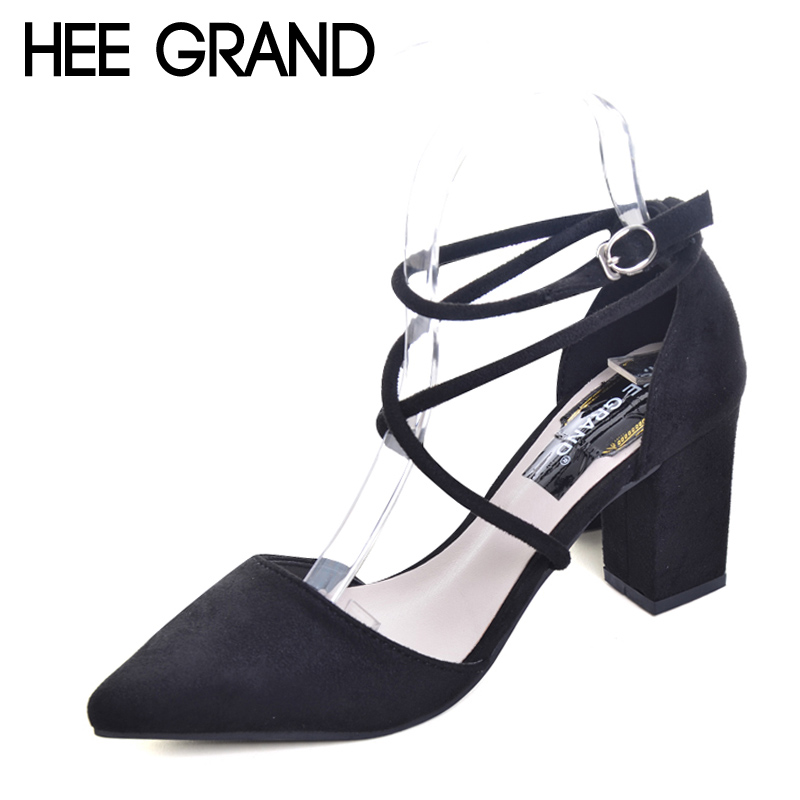 цены HEE GRAND Cross-tied Women Sandals Summer Sexy Square High Heels Flock Wedding Shoes Woman Elegant Pumps Ladies 3 Colors XWZ2049