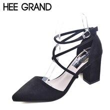 Hee Grand/с перекрестной шнуровкой Летние женские босоножки пикантные обувь на высоких квадратных каблуках свадебные туфли из флока женские элегантные туфли-лодочки дамы 3 цвета XWZ2049