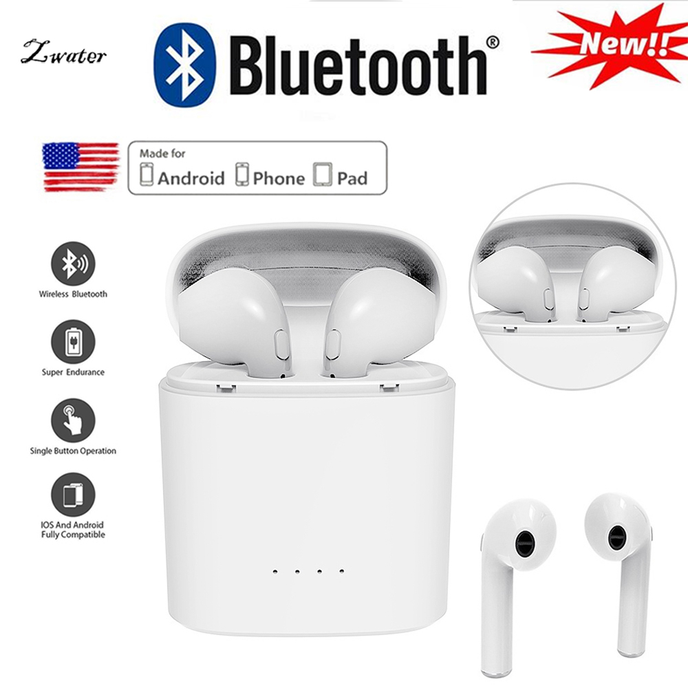 i7s tws Mini Bluetooth Earphone Stereo Earbud Headset Wireless Headphones and Charging Box Mic For iphone Android airpod xiaomi wireless bluetooth headset i7s tws i9 hands free stereo earbud earphone with mic double earpiece for iphone airpod xiaomi phone
