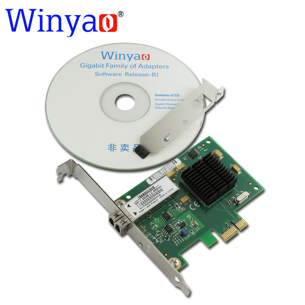 Winyao WY5715F PCI-E X1 1000Mbps Fiber Gig Ethernet Network Card Adapter 1G 850nm LC Optical Module For Broadcom bcm5715 NIC цена 2017