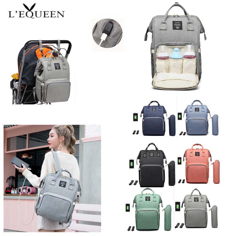 LEQUEEN Baby Diaper Bag With USB  Mummy Backpack Maternity Mom Care Mother Travel Stroller