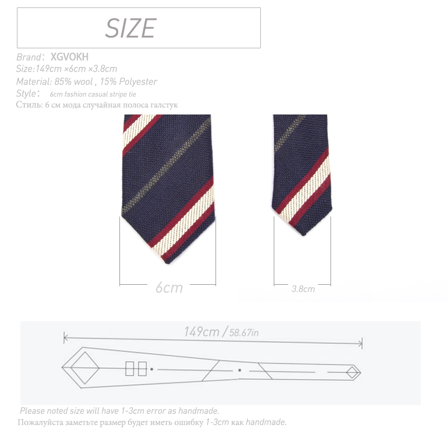 Mens ties stripe Necktie Fashion 6cm Classical Slim wool Tie XGVOKH Brand Comfortable Men Wedding dress Party Business quality in Men 39 s Ties amp Handkerchiefs from Apparel Accessories