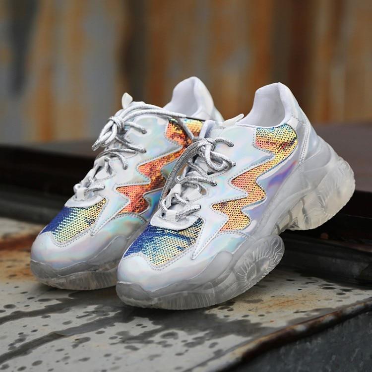 d7a0cc7e Plataforma Casuales Colorful Zapatos Encaje Zapatillas plata Papá Gruesas  Mujer 2019 Moda Transpirable Planos Malla Plata ...