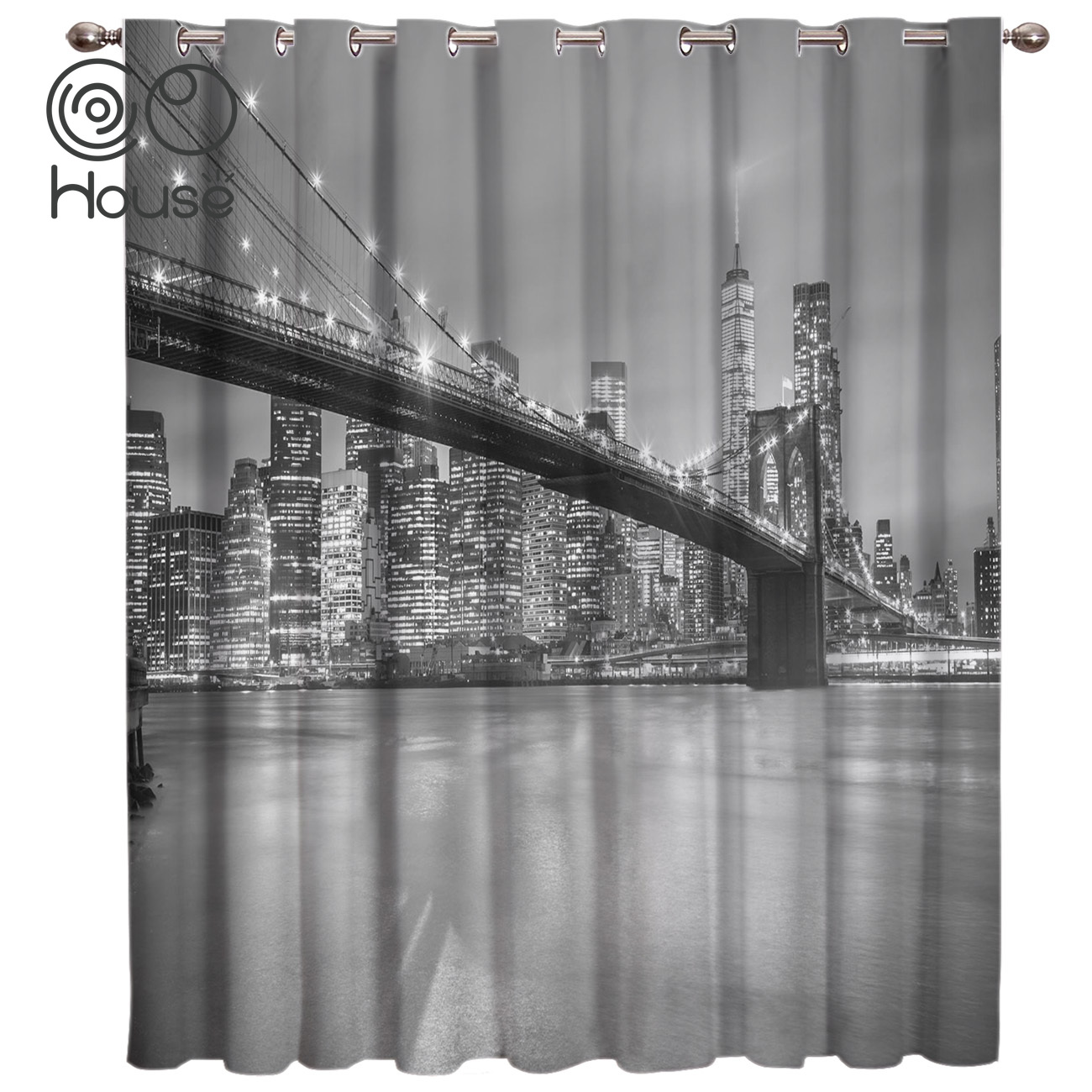 COCOHouse New York City Night Room Curtains Large Window Window Curtains Dark Living Room Blackout Bedroom Fabric Decor Curtain