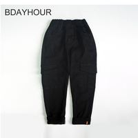 Double Pockets Elastic Waist Mid Solid Cargo Pants Big Boys Clothes 2017 Autumn Winter New Children