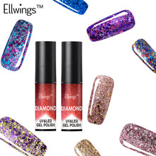 Ellwings 1pcs 3D Diamond Glitter Nail Gel Polish Lucky Color Need UV Lamp Cure Top Coat Base Gel Soak Off Varnish Art