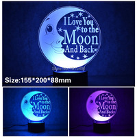 3D Stylish LED Lamp Touch Moon Love Letter Shaped 3D Night Light Atmosphere Backlight Best Gift 7 Color Changing Lighting Lamp