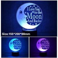 3D Stylish LED Lamp Touch Moon Love Letter Shaped 3D Night Light Atmosphere Backlight Best Gift