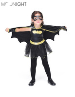 MOONIGHT Girls Batman Halloween Costumes Batgirl 2017 Fancy Dress Kids Disguise Carnival Party Outfit Superhero Cosplay