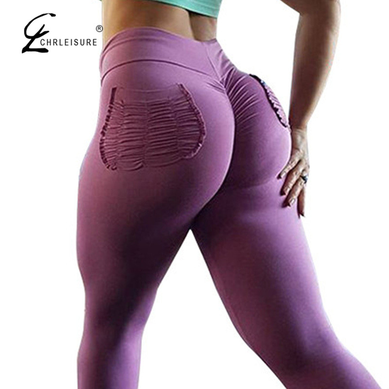 CHRLEISURE Sexy Push-Up Fitness Leggings Frauen Hosen Hohe Taille Sporting Leggins Workout candy farbe Leggings Taschen S-XL
