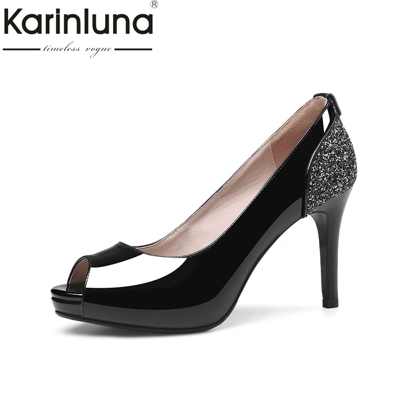 Karinluna 2018 Summer Black Patent Leather Women Pumps Platform Glitters Shoes Woman High Heels slip-on Shallow Lady Shoe wdzkn 2017 summer autumn breathable genuine leather high heels women platform shoes black white slip on women wedge casual shoes
