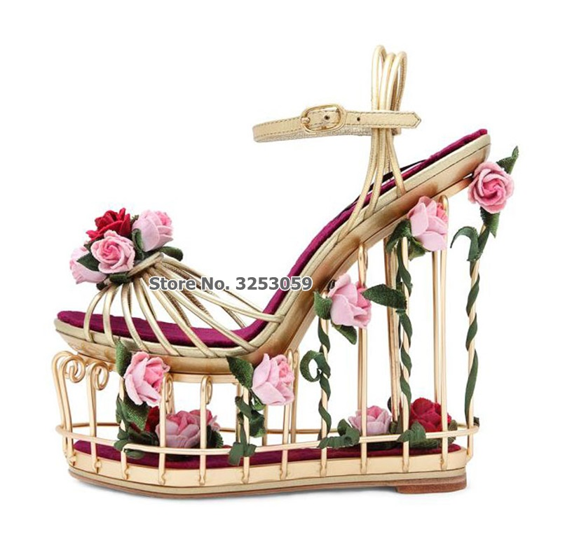 ALMUDENA High-end Luxury Golden Metal Cage Sandals Pink Red 3D Flowers Wedding Shoes Sky-high Wedge Heel Platform Shoes Sandals ALMUDENA High-end Luxury Golden Metal Cage Sandals Pink Red 3D Flowers Wedding Shoes Sky-high Wedge Heel Platform Shoes Sandals