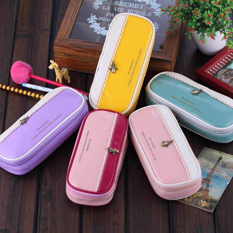 New Korean Multi Function PU Leather Pencil Case Big Capacity Pencil Bag Material Escolar School Supplies Children Girls Gifts