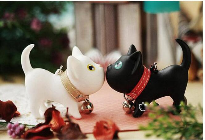 50PCS Multicolor Cute Cute Cat Keychain Animal Dolls Key Chain Baubles Pendant Shake Head Bell for kids Creative Jewelry Gift - 6