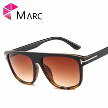 MARC sunglasses men and women fashion Plastic Leopard personality trend glasses classic Resin Square Wrap Mirror