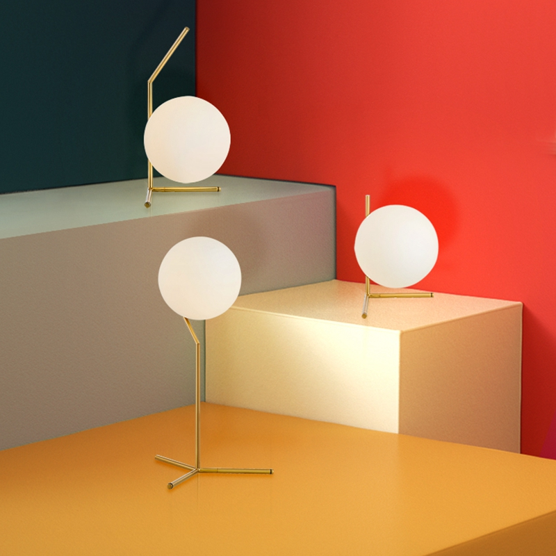 LukLoy Modern Simple LED Table Lamp Desk  Light Shade Glass Ball for Bedroom Living Room Floor Bedside Gold Designs