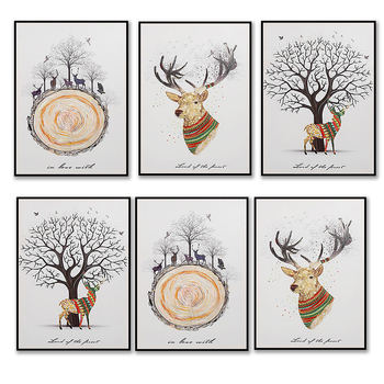 Creative Elk Forest Painting Core Wall Hanging Pictures Draw Art Print Poster Home Living Room Art Decor image