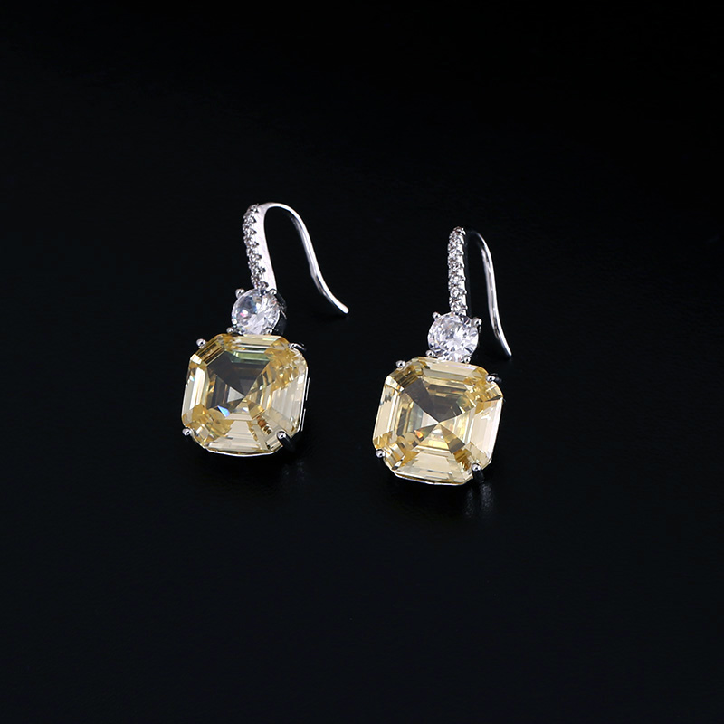 Luxury brilliant Yellow and Clear zirconia waterdrop and cirrus fashion style wedding bridal earring necklace jewelry sets
