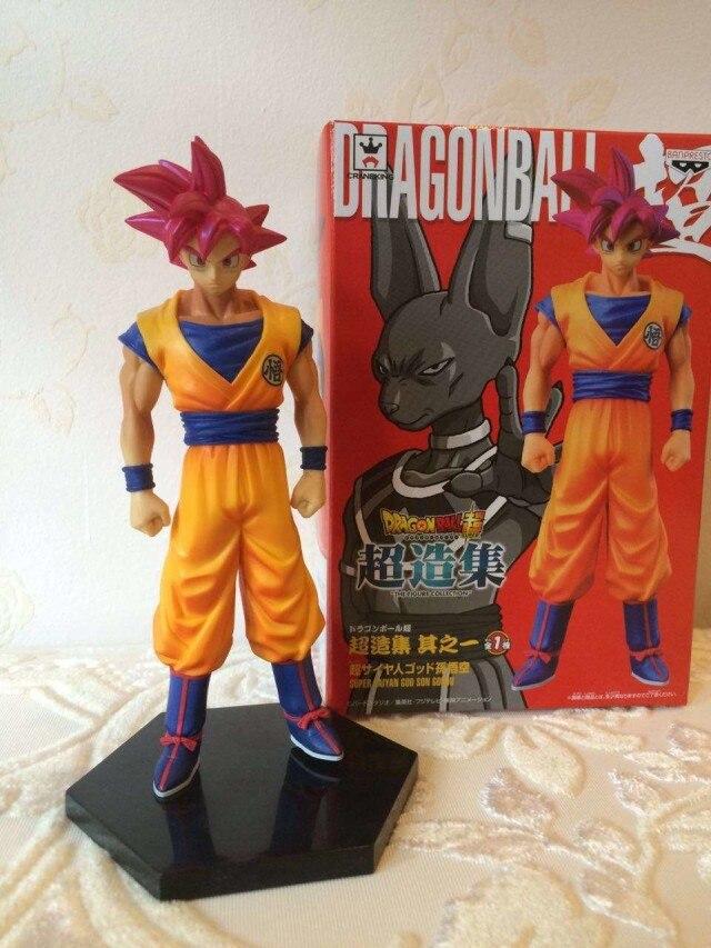 SAINTGI Dragon Ball Z movie Son Goku Super saiyan God Red hire Battle Version 16CM PVC Action Figure Collection Model Toy dragon ball z super saiyan trunks battle version boxed pvc action figure model collection toy 6 14cm