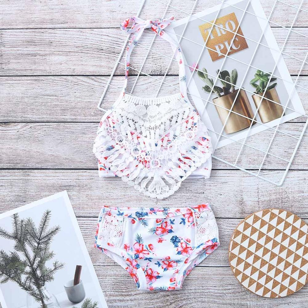 New 2019 Girls Swimwear 2~5Years Children Kids Girls Bikini Beach Shell Flower Swimsuit+Shorts Swimwear Set Cocuk Mayo A1