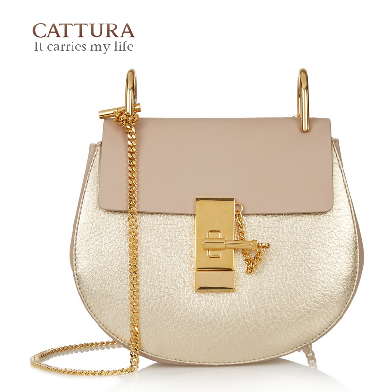 2017 New Women Fashion Saddle Chain Small Genuine Leather Messenger Bags Handbag
