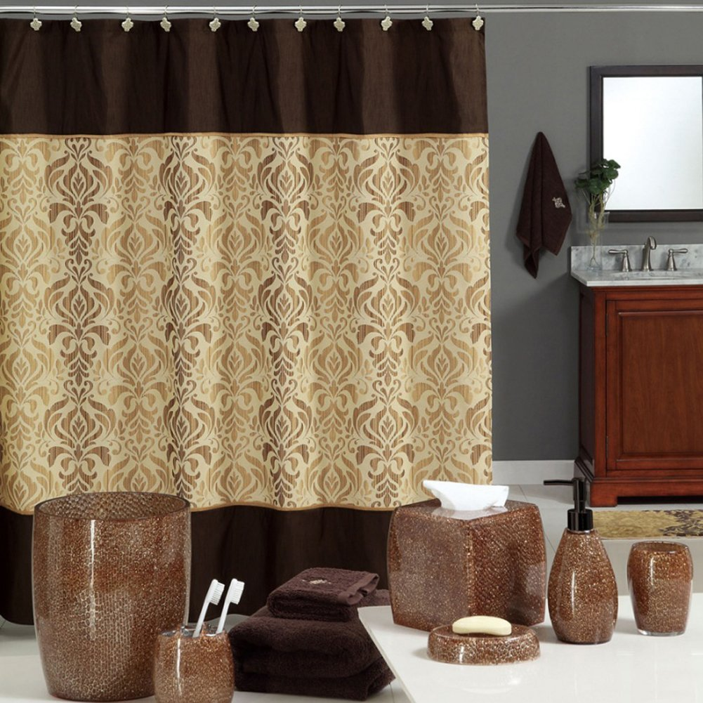 sterling brown shower curtain chocolate polyester fabric vintage for bathroom damask print waterproof shower curtain