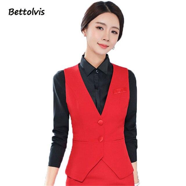 2018 Autumn business career ladies vest work wear uniforms Slim V-Neck Formal vestidos women office vests Black plus size S-4XL 3