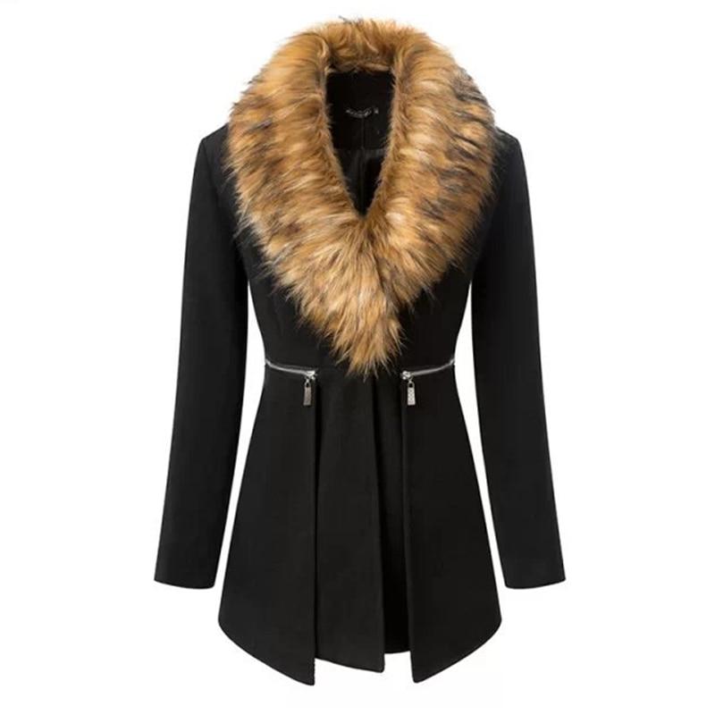 Siyah Ceket Kadın 2016 Kış Kadın Parka Uzun Rüzgar Geçirmez Ceketler Ceket Alpaka Kadın Tavşan Kürk Yaka Dikiş Yün 50 Karışımları