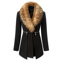 Черное пальто женское 2018 зима Женская парка длинные ветрозащитные куртки альпака пальто женские кроличий мех воротники сшитые шерстяные смеси 50