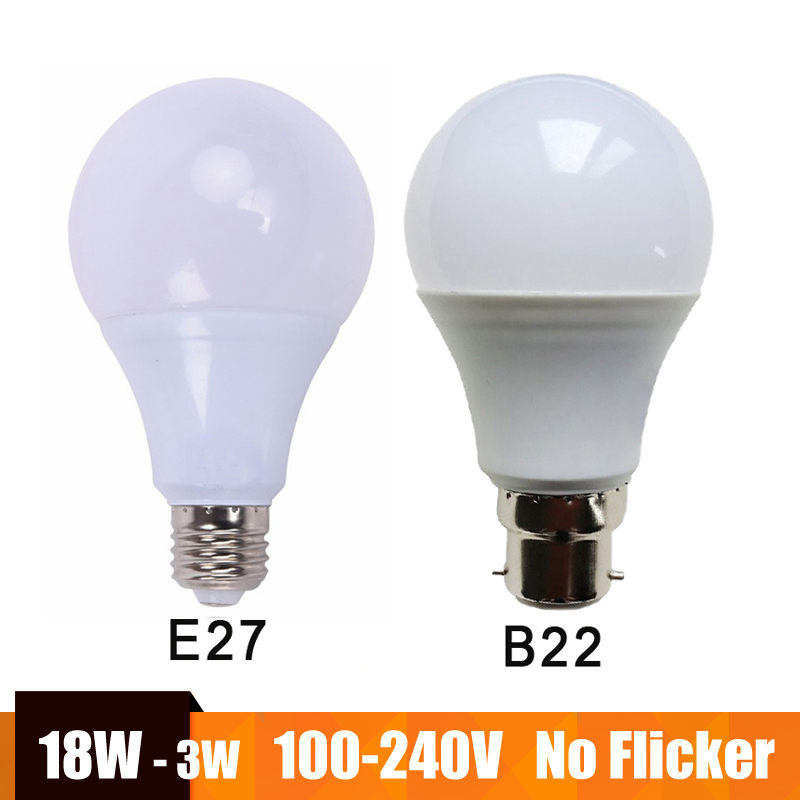Real Power Led Lamp E27 B22 LED Bulb 100-240V 220V 110V LED Light Lampada Ampoule Bombilla 18W 15W 12W 9W 7W 5W Cold/Warm White no flicker led bulb e27 9w led lamp 15w ac 220v 230v 240v cold white warm white lampada ampoule bombilla led