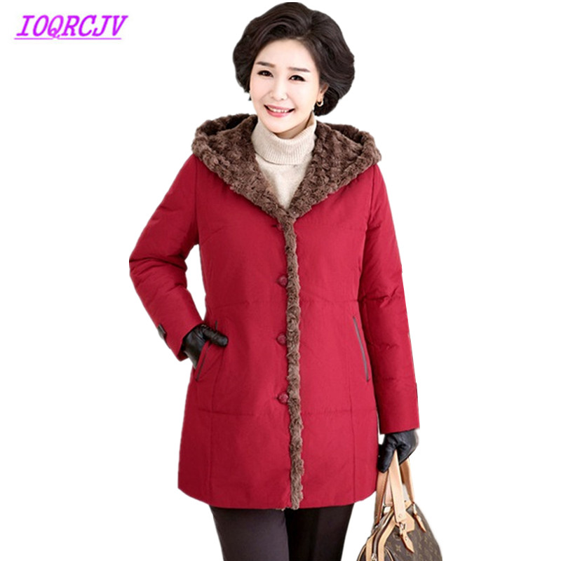 New Plus size 6XL Middle aged Women Winter Flocking Warm Cotton Jackets Thickened Hooded   Parkas   Medium length Coats IOQRCJV Q031