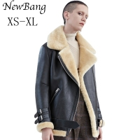 Women Rabbit Fur Faux Leather Jacket Berber Patchwork Short Suede Shearling Overcoat Zipper Vintage Motorcycle Jackets