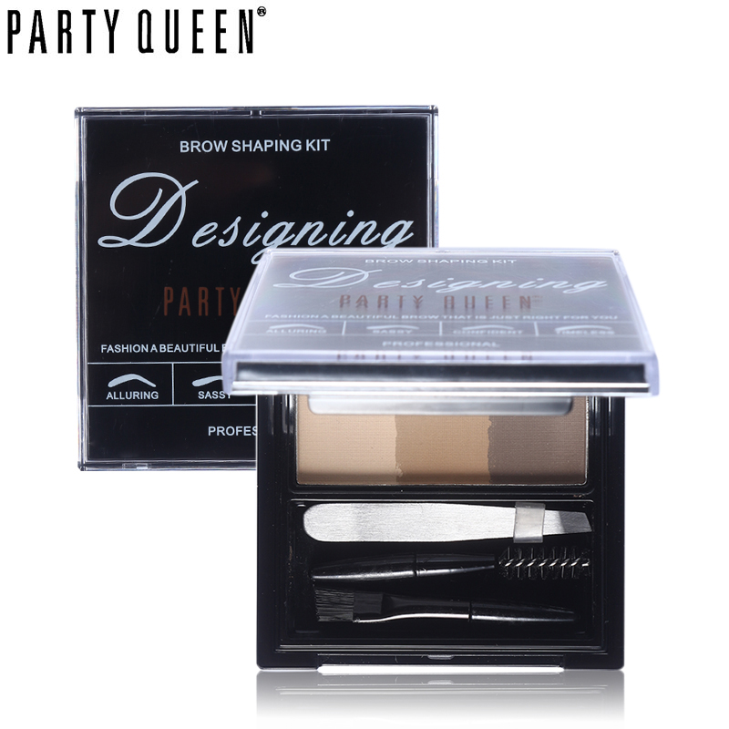 Party Queen Makeup Alluring 3Colors Ögonfärg Pulverpalett Med Mini Tweezer + Borste + Kam + Ögonplatta Kort + Spegel Ögonbryn Sharping Kit