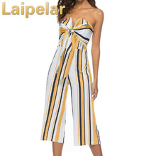 Laipelar Off-the-shoulder Wrapped Bow Tie Striped Jumpsuit Sleeveless Jumpsuit 2018 Office Work Wear Elegant Wide Leg Jumpsuit