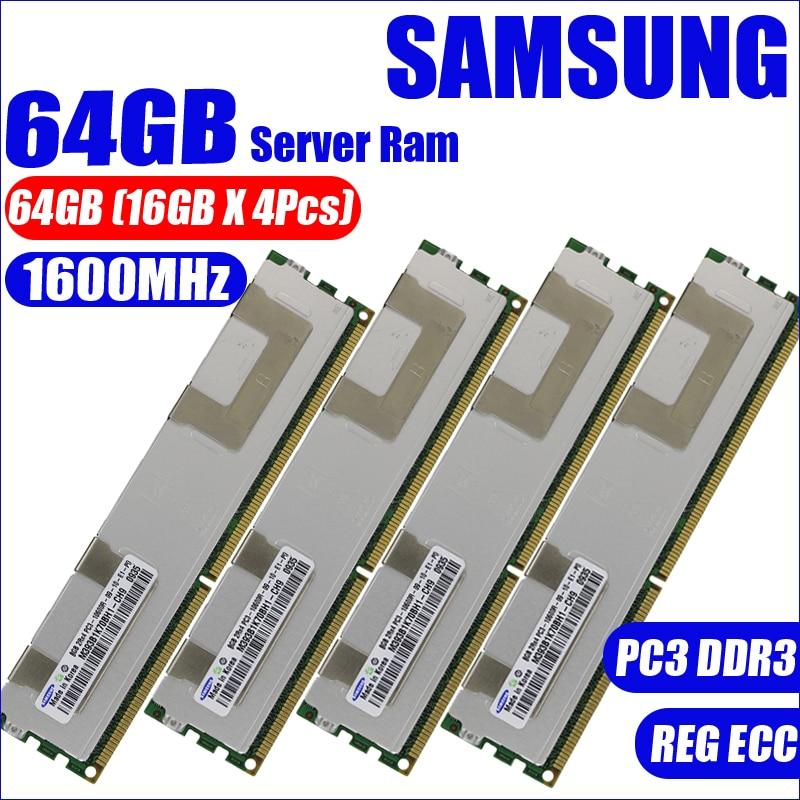 Samsung 64GB (16GBX4Pcs) PC3 12800R DDR3 1600MHz 64G radiator  PC3-12800R  2Rx4 REG ECC   PC RAM Server memory RAM 100% original