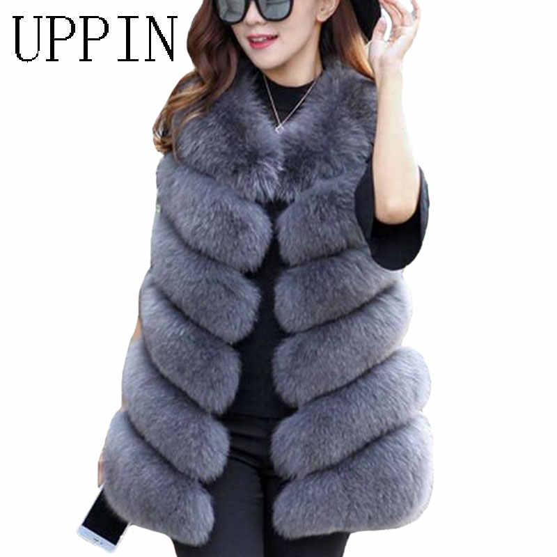 UPPIN Musim Dingin Hangat Rompi Baru Fashion Wanita Import Mantel Bulu Rompi Bermutu Tinggi Bulu Imitasi Mantel Bulu Rubah panjang Rompi Plus Ukuran S-3XL