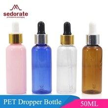 Sedorate 50 Stks/partij Hoge Kwaliteit Plastic Pet Druppelflesje Voor Etherische Olie 50 Ml Rubber Dropper Flessen Container JX054 2