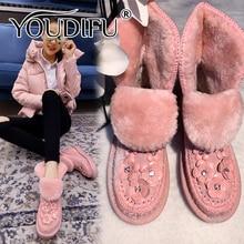 YOUDIFU Sheepskin Wool Women Fur Snow Boots Pink Flat Platform Ankle Winter Boots Ladies Fur Warm Australia Floral Ankle Boots