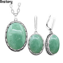 Personality Oval Natural Stone Necklace Earrings Jewelry Set For Women Stainless Steel Chain Antique Silver Plated Gift TS365(China)