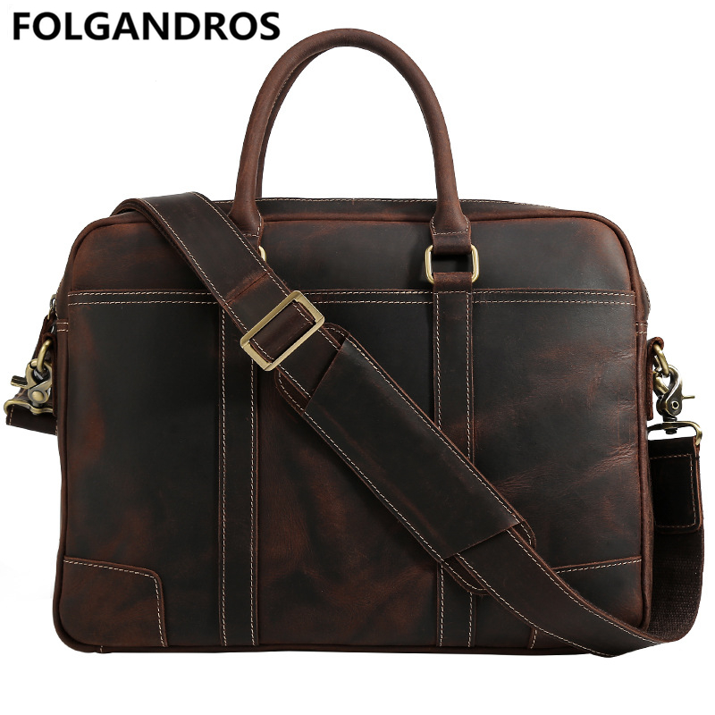 Men Brand Briefcases Genuine Leather Shoulder Top Handle Bag Vintage Business Document Briefcase Designer Laptop Tote Bag Bolsa