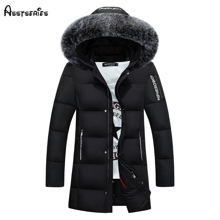 Free Shipping 2018 Winter Duck Down Jacket Men Long Slim Coat Big Fur Collar Coat Long Youth Winter Outwear Jacket D130