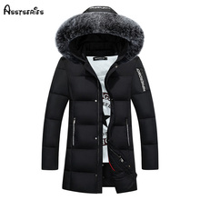 Free Shipping   Winter Duck Down Jacket Men Long Slim Coat Big Fur Collar Coat Long Youth Winter Outwear Jacket D130 стоимость