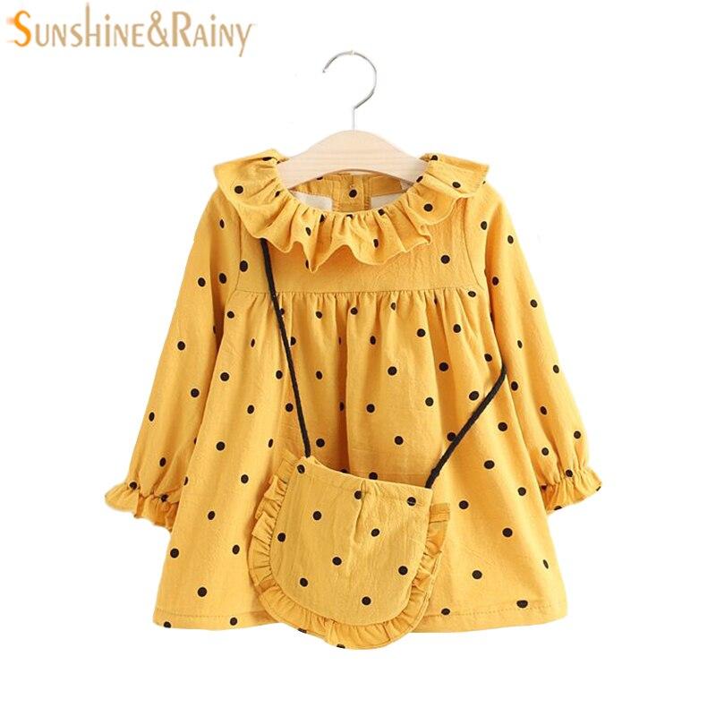 Winter Dress Toddler Girl Plus Velvet Dress With Bag Dot Lotus Leaf O-neck Kids Dresses For Girls Princess Dress Girl Costume