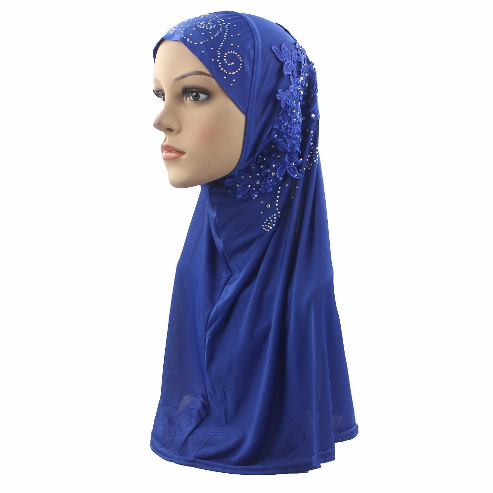 Muslim Hijabs Sewing Embroidery Flower Pattern Diamond On Scarf For Women/Girls