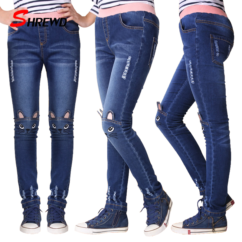 Girls Leggings Fashion Cartoon Cat Kids Girls Jeans Pants Plus Size Kids Children Pencil Pants Trousers Pantalon Fillette 2507W guoran holes ripped jeans pencil pants women s high strech slim denim jeans leggings 26 32 femme pantalon light blue trousers