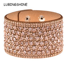 LUBINGSHINE Leather Rhinestones Wide Bracelets&Bangles Women Girls Handmade Men Charms Bracelet Wristband Party Jewelry Gift(China)